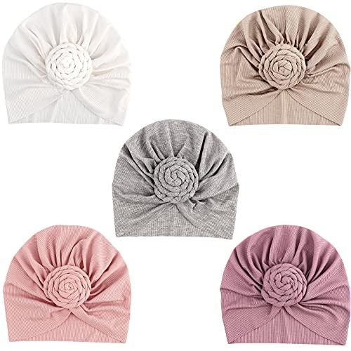 DRESHOW 5 Pièces Bébé Turban Bonnets de Naissance Chapeaux Nœuds Papillons Mignon Elastique Enfant Casquettes Bonnets Pour Bébé Fille Garçon