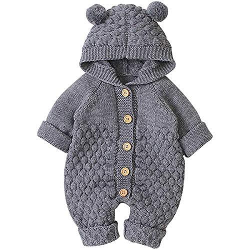 Vêtements de Bébé Nouveau-né Hiver Body à Capuche Garçon et Fille Barboteuse en Coton Tricoté avec Bonnet 3-24 Mois (Gris, 3-6 Mois)