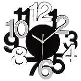 Horloge murale design chiffres en relief silencieuse noir et gris