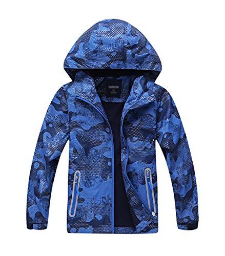 YoungSoul Manteaux Imperméables Garçon Veste Softshell Imprimée Blouson de Pluie Coupe Vent a Capuche Bleu Étiquette XXL