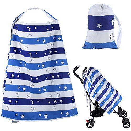 Housse d'allaitement Muslin pour l'allaitement maternel intimité Écharpe de couverture pour l'alimentation du bébé taille généreuse Protection totale de l'allaitement maternel à 360°(bleu)