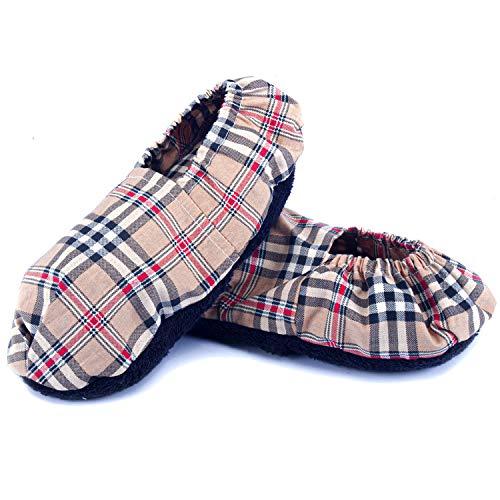 Chaussons Chauffants Micro Ondes - Pantoufle Chauffante au Micro-Onde (Taille Unique) - Bouillotte Pieds Froids - Housse Lavable, 100% Coton et Odeur de Lavande (Oxford)