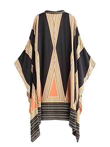DIDK Femme Kimono Imprimé Géométrie Kimono 3/4 Manches Style Tribal Kimono Longue Jaune One Size