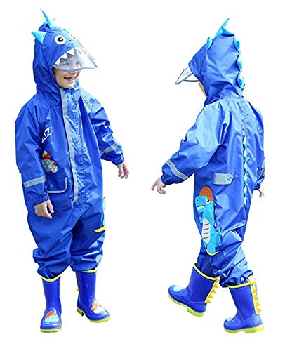 Imperméable Garcon Enfant Velo Complet Bleu Dinosaure Avec Capuche Combinaison Pluie Sport...
