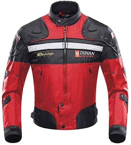 Veste de Moto, Blouson Moto Homme Sport avec Armure pour l'automne Hiver (Red, L)