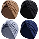 4 Pièces Turbans pour Femmes Doux Turban Plissé Noué à la Mode Bonnet Headwrap Turban Chapeau de Sommeil, 4 Couleurs (Noir, Kaki, Bleu Marine, Gris)