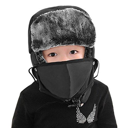 Chapka Enfant Fille Garçon Bonnet Enfant Hiver Bonnet Ski Fille Garçon Bonnet Chaud Epais Enfant Cagoule Peluche Enfant Chapeau Enfant Hiver Bonnet Cache Oreilles pour Snowboard Randonnée Montagne