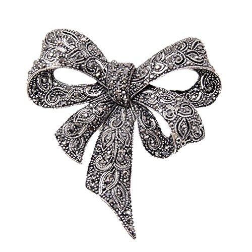 SODIAL Vintage Broches d'arc en Strass pour Femmes, Noir Broche de Noeud a Deux Boucles, a la Mode, Bijoux, Accessoires de Manteau, Style Elegant