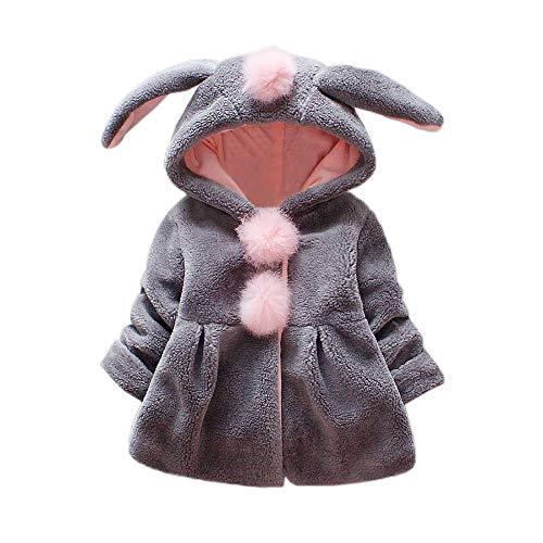Manteau à Capuche Mignon De Lapin Oreille Cartoon DéCoration Hiver Automne Enfant BéBé Fille Polaire éPais Chaud Vestes Capuche Fourrure 0-24 Mois (0-6 Mois, Gris)