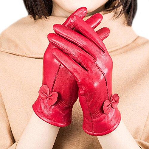 Gants de luxe Fletion - En cuir d'agneau - Avec doublure en polaire - Pour femme -  Rouge - taille unique prix et achat