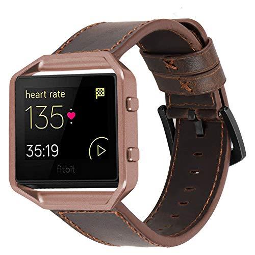 iBazal Bands Straps Compatible avec Fitbit Blaze Bracelets Cuir Montres Accessoires avec Café Cadre en Métal Bandes en Cuir Smart Watch Remplacement Hommes Wristbands - Café/Café