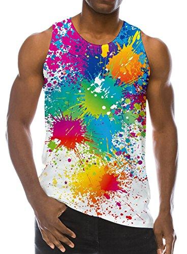 Loveternal Mens Peinture Colorée Gilet T-Shirt 3D Imprimé Débardeur Workout Muscle sans Manches Tees L