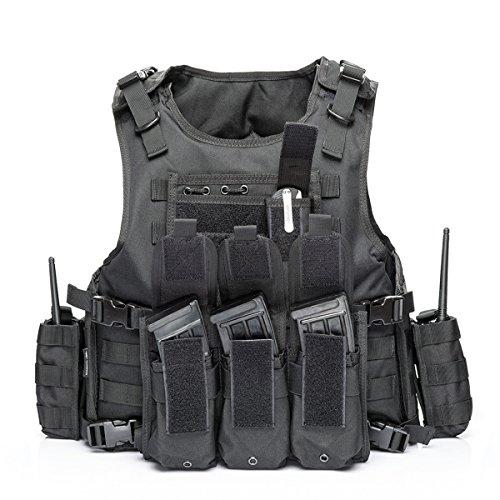 YAKEDA Gilet Tactique, Veste Porte Plaque Ajustable pour Armée, Police