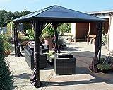 'Tonnelle pavillon de jardin tonnelle de luxe 'Nabucco en aluminium 3x 4m Taupe toit: Polycarbonate Plaques