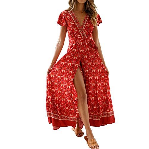semen Robe Kimono Femme Manches Courtes Col Cache Coeur Robe de Plage Motif Imprimé Soirée…