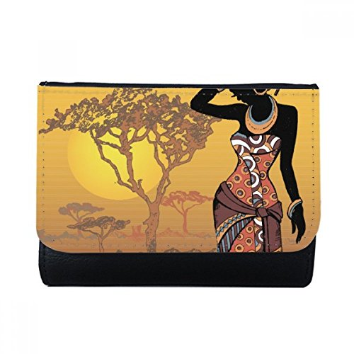 DIYthinker Africaine Savane Robes autochtones Noir Multi-Fonction Carte Faux Porte-Monnaie en Cuir Porte-Cadeau Multicolore prix et achat