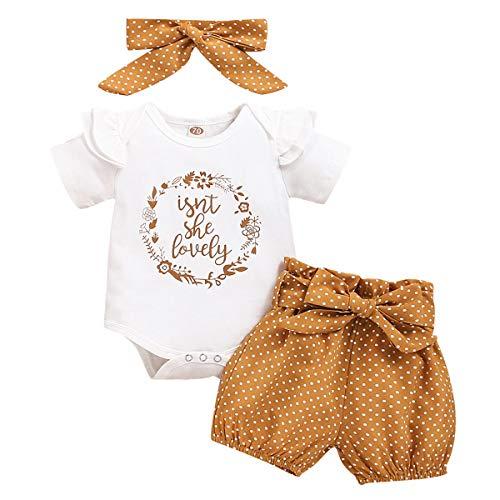 FYMNSI Tenue de Vêtements pour Bébé Nouveau-né Filles Ete Ensemble, Manche Courte Body...