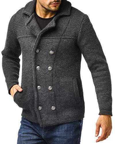 Leif Nelson Cardigan en tricot pour homme - Noir - Pour l'hiver - Col châle - Veste mi-saison - Veste de loisirs - Slim Fit LN6000 - Gris - Medium