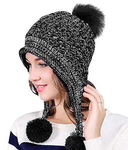 DAMILY Hiver Chapeau en Tricot de Pompon pour Femme Chaud Chapeau Oreillette Doublure Polaire Bonnet Crâne Péruvien Beanie (Noir)
