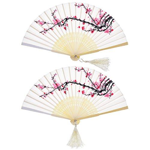 Hotop 2 Pièces Ventilateurs Pliables Ventilateurs Portatif Fans De Bambou avec Gland De Femmes Ventilateurs en Bambou Se Tenir La Main pour Décoration Murale, Cadeaux (Cerise Blanche)