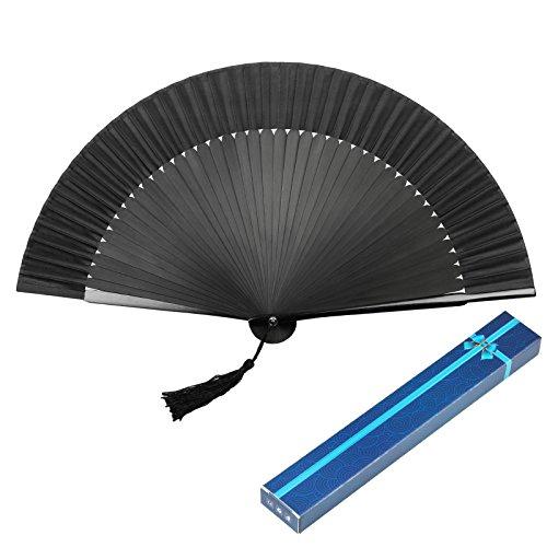 KAKOO Éventail Pliant Ventilateur à Main en Soie Bambou de Style Simple Japonais pour Cadeau de Fête Décoration Cosplay DIY (Bleu Marine)