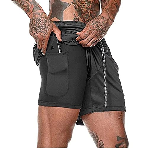 Compression Shorts pour Hommes, Sport Séchage Rapide avec Short de Course Séchage Rapide Pantalon Court Leggings de Sport avec Poche Base Layer Stretch pour Fitness (Black, L, l)