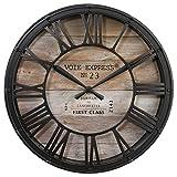 Horloge pendule murale style vintage pendule de gare de 39 cm marron cuivré effet vieilli