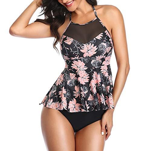 manadlian Maillot de Bain 2 Pièces Femme Shorty Tankini Imprimé Fleur Push up Rembourré Bikini Sexy Ensembles Maillots Deux Pièces Femme Pas Cher Beachwear 2020