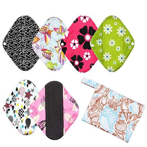 6 Pièces Petites Serviettes Sanitaires Lavables Pour Débit Légère Réutilisables Femmes Fille protege slip lavable(S-20cm)