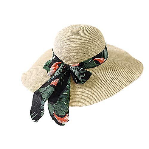 Kentop Chapeau de Soleil Large Bord Chapeau Chapeau de Paille Femme Chapeau de Plage Visière...