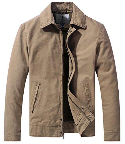 WenVen Homme Veste d'Extérieur en Coton Vestes Classique Manteau Casual Léger Veste Cargo de Style Militaire Blouson d'Extérieur Décontracté Kaki M