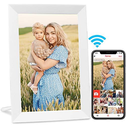 AEEZO Cadre photo numérique WiFi 9 pouces IPS à écran tactile HD, rotation automatique, Configuration facile pour partager des photos et des vidéos, cadre photo numérique Smart à montage mural (blanc)