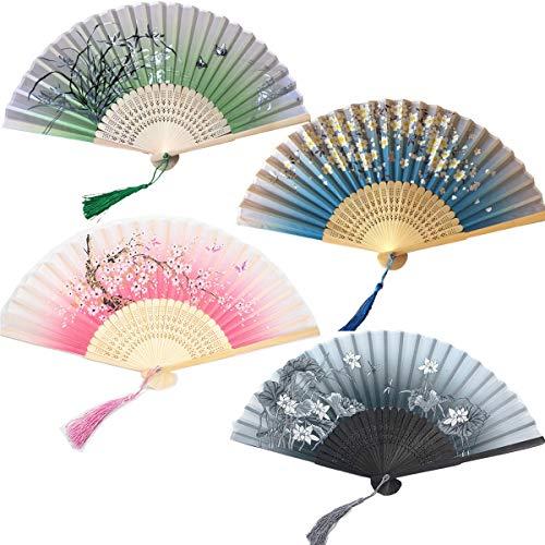 Tangger Lot de 4 Éventails Pliants avec Frange en Soie et Bambou Style Japonais Handheld éventail avec Motif Decoration Mariage Fête Cadeau Décoration DIY