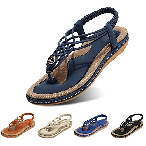 gracosy Sandales Plates Femmes, Chaussures Été Confortable à Talons Plats Nu Pieds Mode...