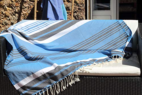 Très Grande fouta XXL Soleil d'Amorgos – 145 x 245 cm – Bleu Turquoise, Bleu Jean et...