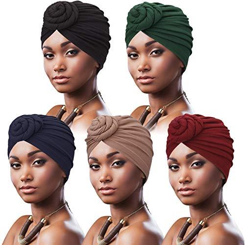 DRESHOW 5 Pièces Turban Africain pour Femme Bonnet Pré-noué Bonnet Chimio Casquette de Perte de Cheveux Chapeau,Taille unique,5 Pack Donuts: Tan, Noir, Navy, Vert, Wine prix et achat