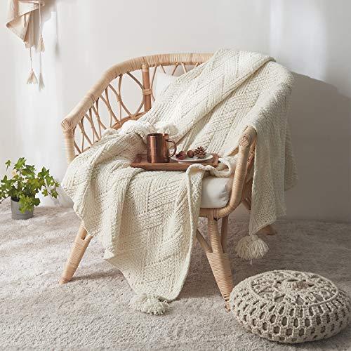 MYLUNE HOME Plaid Tricot en Chenille Doux Boho Chenille Elégante, Couverture de lit Jeté de Canapé pour Toutes Les Saisons, Convient aux Petits et Grands - (130 x 160cm, Blanc)