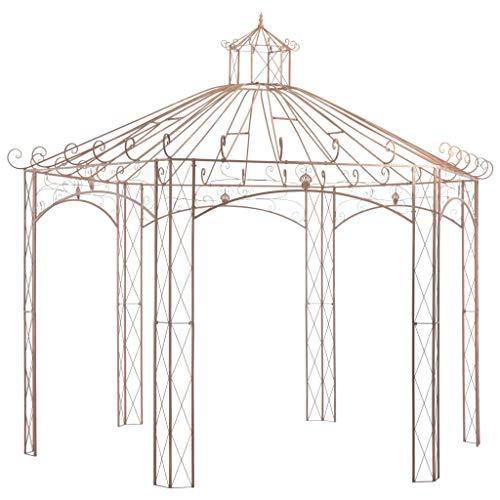 vidaXL Pavillon de Jardin Arche à Rosiers Arches de Jardin Support pour Plantes Grimpantes Arceau de Jardin Terrasse Patio Extérieur 4 m Fer