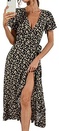 WINKEEY Femme Robe Longue Été Col V Robe Florale Portefeuille Robe Bohème Cache Coeur à Manches Courtes (XXL, Noir Fleur)