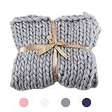 HCLKSTORE Chunky Knit Blanket Bulky Knit Throw Grand Canapé Souple Pet Bed Chaise Mat Tapis [Classe énergétique A] (Gris, 100x120cm)