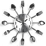 Horloge murale YHANONAL - Motif couverts de cuisine, fourchette et couteau - Créative - Argentée - Décoration pour maison moderne, bureau, club