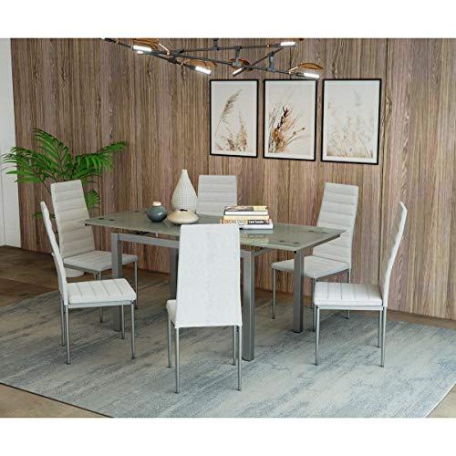 Mobilier Deco Table à Manger en Verre avec 2 rallonges...
