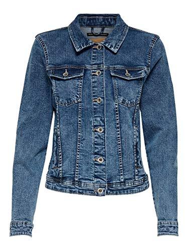 ONLY NOS Onltia DNM Jacket BB MB Bex02 Noos Veste en Jean, Bleu (Medium Blue Denim Medium Blue Denim), 46 (Taille Fabricant: 44) Femme