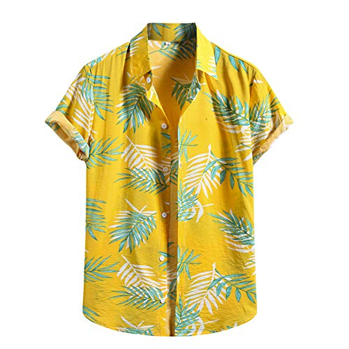 Pas Cher Hawaïenne Fleurs Chemise Homme Courtes Funky Casual Manches Plage Hawaienne Été Hommes Vacances ete Imprimé Button Down Imprimer Palmiers Poche-Avant Tops Blouse Manche Courte Chemises