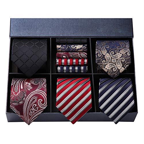 HISDERN Lot 5 PCS Classique elegant formel La soie des hommes Cravate Set Cravate & Carre de...