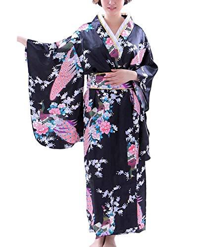 Botanmu Robe Kimono pour femme Robe japonaise Costume cosplay de photographie 5 couleurs ,Noir,Taille unique