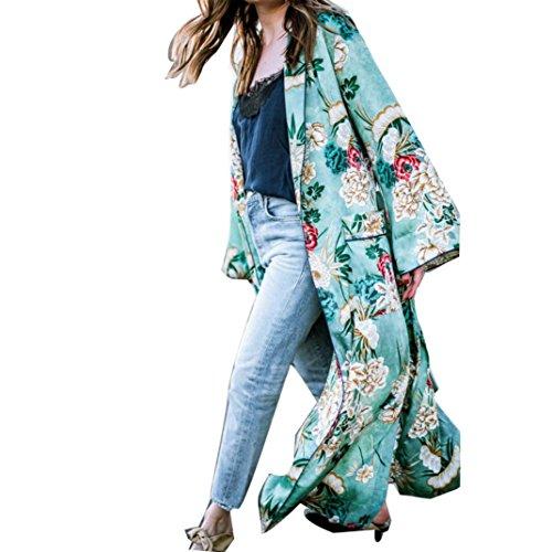 Top Cover up Blouse Grande Taille S-5XL,Covermason Femmes Boho Imprimé Châle en Mousseline de...
