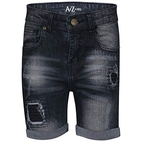 A2Z 4 Kids® Enfants Garçons Shorts Designer Noir Denim - Boys Denim Short Ripped Black_11-12