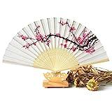 Sungpunet Éventail pliant en bambou motif fleur de cerisier pour femme