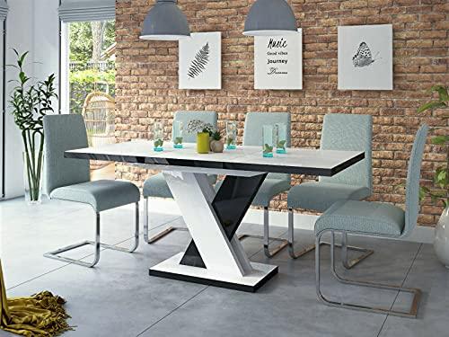 Table de salle à manger extensible en acrylique SENOSAN Design Dixon Blanc/noir brillant 120 (170 cm)